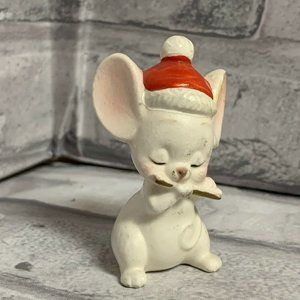 Napco Christmas White Mouse Figurine Playing Flute